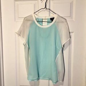 Sheer turquoise + white Mossimo Blouse, size large